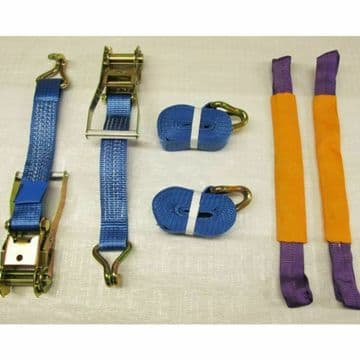 2 x 50mm x  4M RATCHET TIE DOWN RECOVERY WHEEL STRAPS with ROUND SLINGS trailer